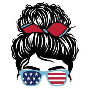 messy bun and usa sunglasses girl