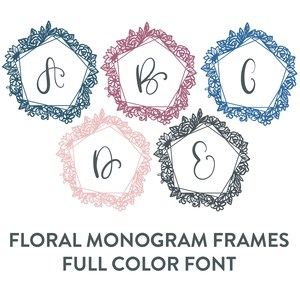 floral monogram frames full color font