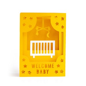welcome baby crib accordion card