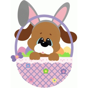 easter dog in basket w eggs