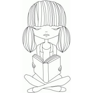 girl reading illustration