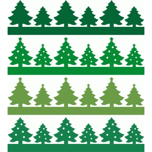 christmas trees borders set