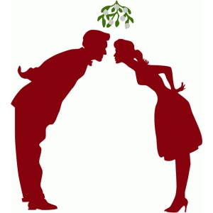 mistletoe kiss couple