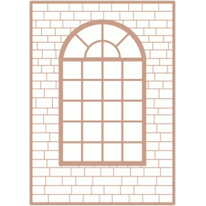 window frame brick wall background