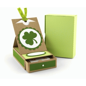 shamrock gift card box with pocket easel card