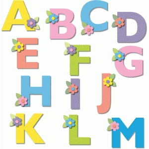 alphabet with flowers a-m