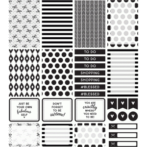 planner stickers | black & white collection