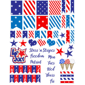 4th of july, patriotic planning stickers