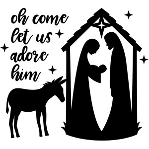 oh come let us adore him tall nativity