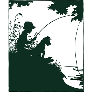 boy and dog fishing