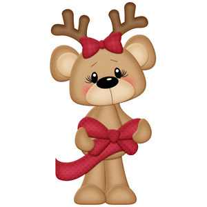 christmas bear with bow