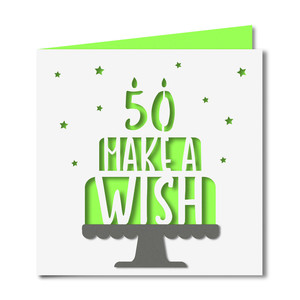 'make a wish' 50 birthday card