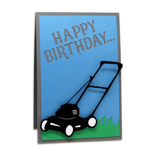 twist pop many mower birthday card