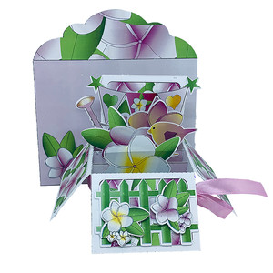 plumeria pop up card in a box w/envelope