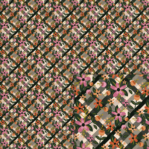 flowers on gingham background paper