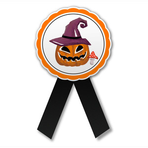 halloween printable badge with pumpkin in a hat