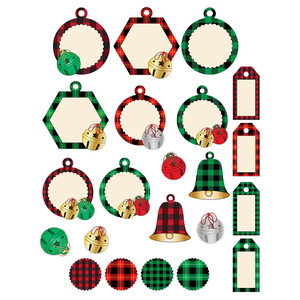 buffalo plaid and bells - tags