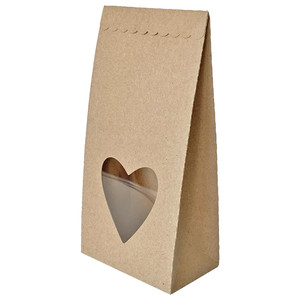 self standing bag with heart window