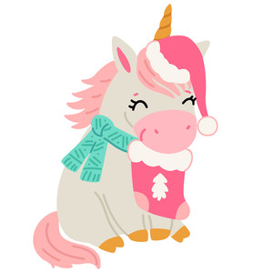 unicorn with christmas stocking