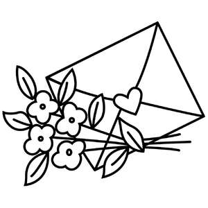valentine envelope with flowers