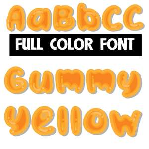 gummy yellow color font