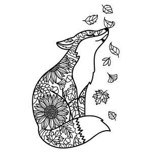 fox with falling autumn leaves mandala