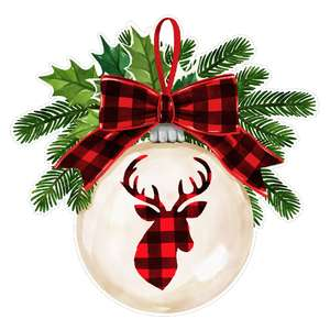 christmas ornament with plaid reindeer