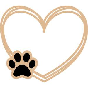 heart lines with paw frame