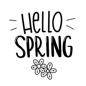 hello spring phrase with flowers