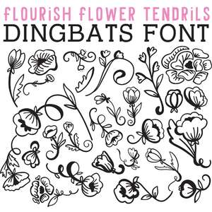 cg flourish flower tendrils dingbats