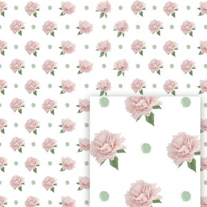 flower digital pattern pink peony and pois