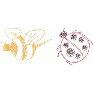 bee and ladybug sketch