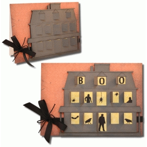haunted house hinged window card
