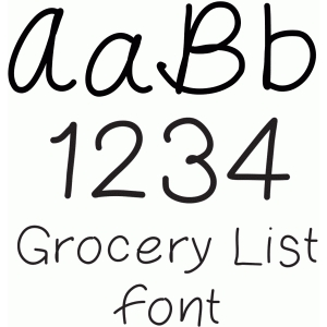 grocery list font