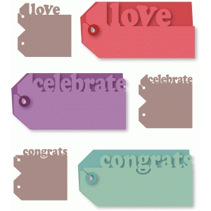 love, celebrate, congrats one-cut tags