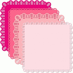 12 x12 square doily set multi moon edge