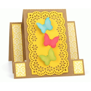 square center step card: butterfly