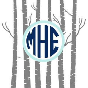 birch tree monogram frame
