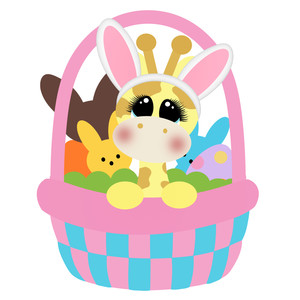 easter giraffe in basket