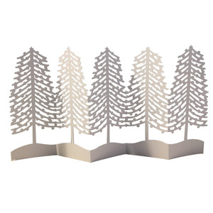 winter pine trees accordion card