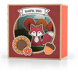 shadow box card scene - fall fox