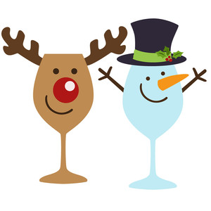 christmas wine glasses rudolph and frosty