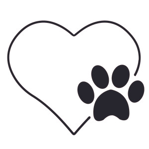 paw print and heart