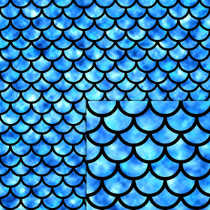 mermaid scales blue pattern