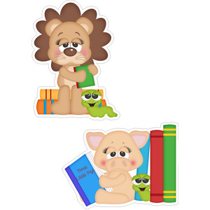 school lion and pig stickers