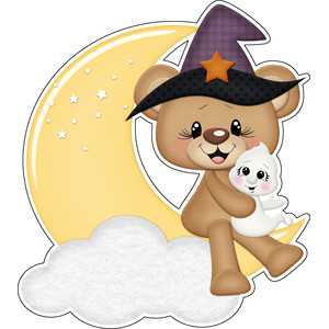 halloween bear witch sitting on moon with ghost sticker / diecut