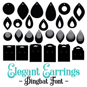 elegant earrings dingbat font