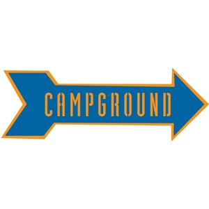 campground arrow sign