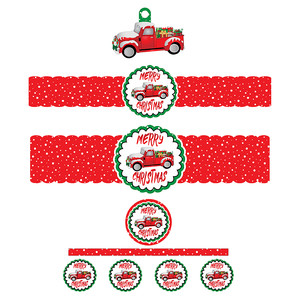 red truck christmas bottle labels