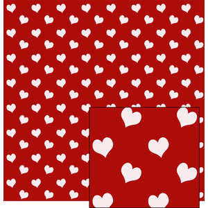 white hearts on red pattern